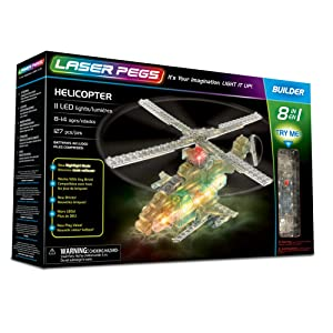 Laser Pegs Helicopter 8-in-1 Building Set; The First Lighted Construction Toy to Ignite Your Child's Creativity; It's Your Imagination, Light It Up