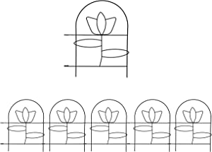 YOUKOOD Garden Picket Fence,13 Inch x 8 Feet Tulip Decorative Garden Fence,Decorative Folding Wire Fencing Border Edge Decor Fence Barrier for Garden Border Folding Fence Lawn Yard Fence