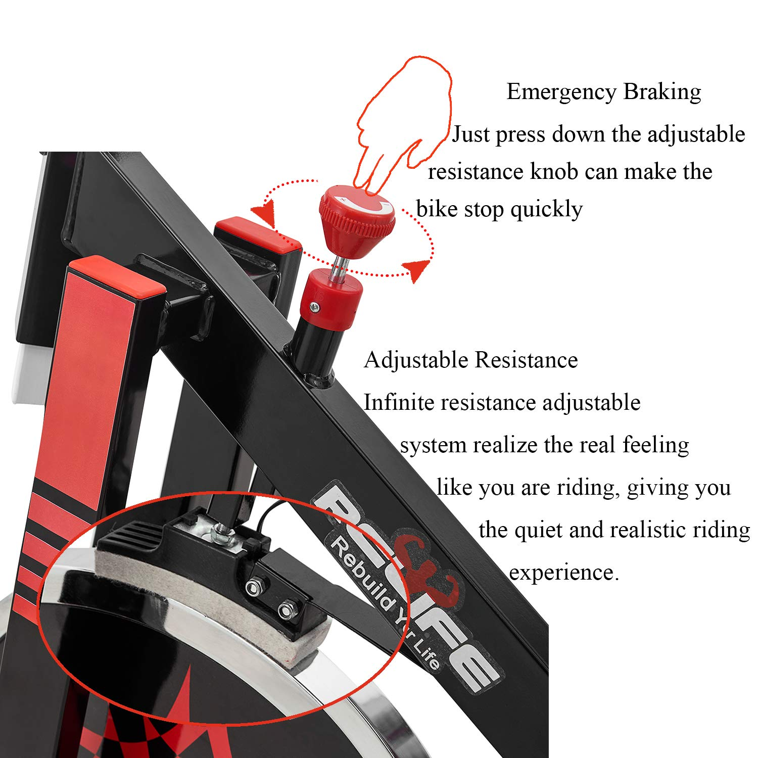 RELIFE REBUILD YOUR LIFE Spin Bike Stationary Indoor Cycling Gym Resistance Workout Home Gym Fitness Machine Exercise Bike by RELIFE REBUILD YOUR LIFE (Image #8)
