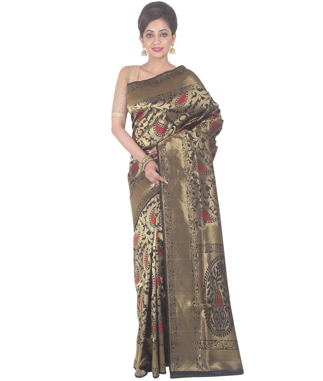 Indian Ethnic Upadda Silk Black And Golden Uppada Saree