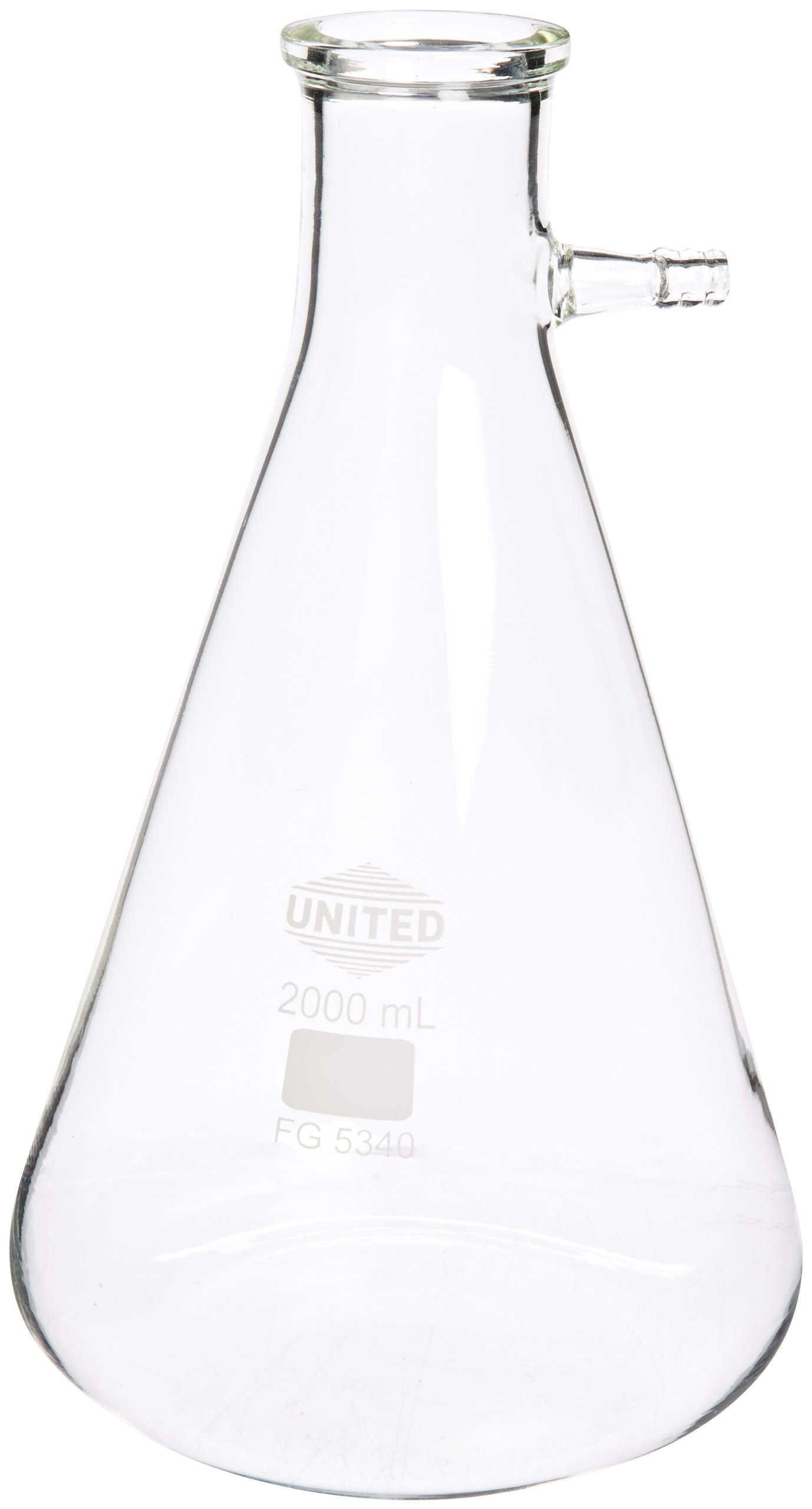 United Scientific FG5340-2000 Borosilicate Glass Heavy Wall Filtering Flask, Bolt Neck with Tubulation, 2000ml Capacity by United Scientific Supplies