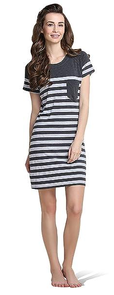 Moda Pijamas para mujer Pijamas Mujer Primavera verano Mujer raya camisones Pijamas de parejas Ropa de