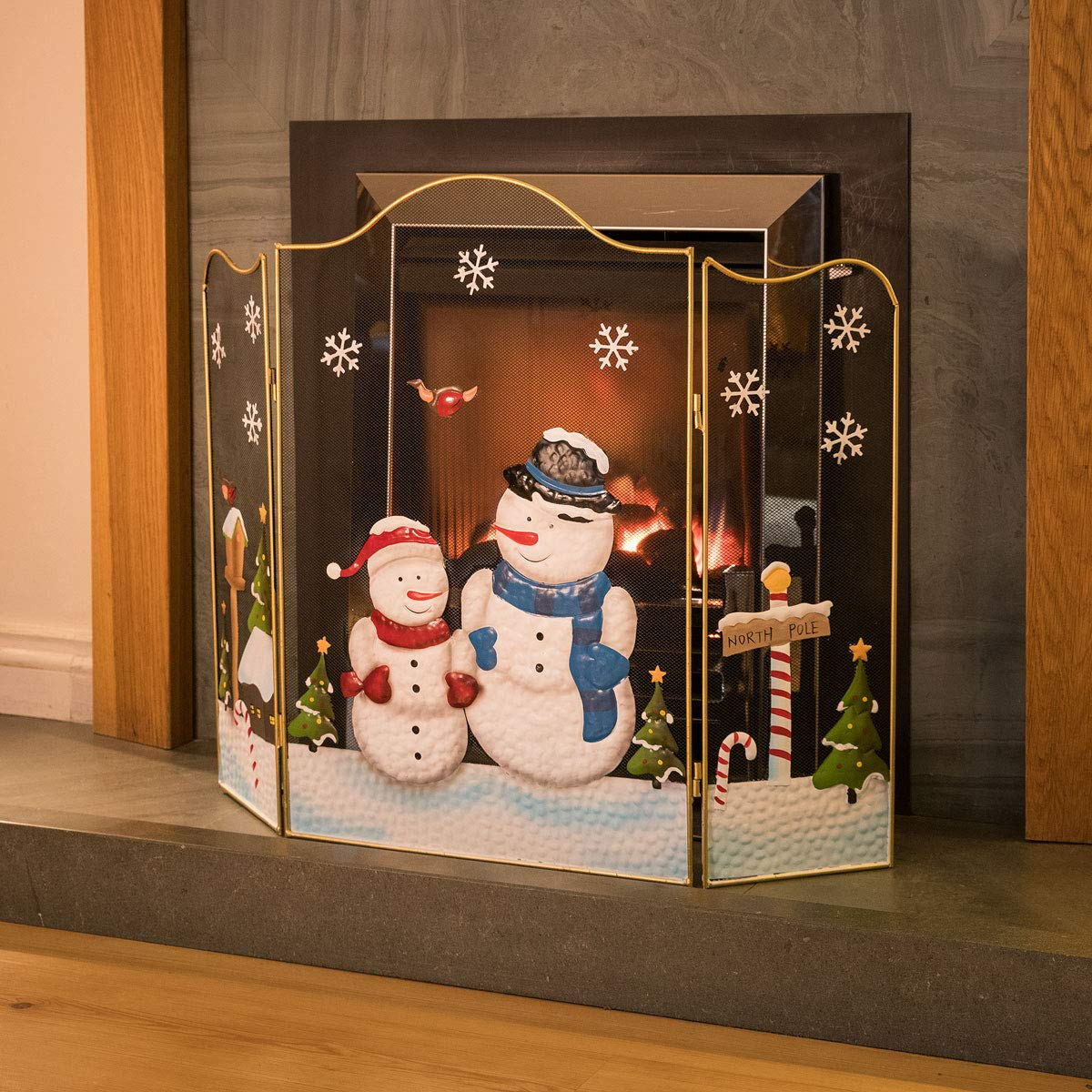 CHRISTOW Christmas Snowman Fireguard, Metal Mesh Fire Screen Guard, Festive Decoration, Hand Painted, Large H61cm