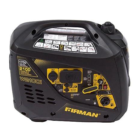 Firman W01781 2100/1700 Watt Recoil Start Gas Portable Generator cETL and  CARB Certified, Black