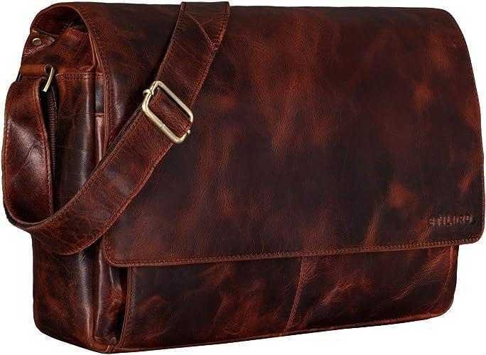 Stilord Lonzo Vintage Umhängetasche Echtes Büffel Leder Messenger Bag Für Herren Und Damen Unitasche Büro Business Studium Leder Farbe Bordeaux Braun Schuhe Handtaschen