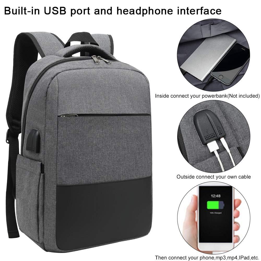 Grey Fits 15.6 Inch Laptop and Notebook Slim Lightweight Laptop Bag,Waterproof School Rucksack for Women Men XQXA Travel Laptop Backpack,Business Backpack Bag with USB Charging Port//Earphone Port
