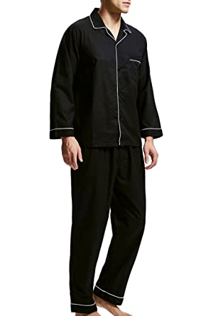 99b74ecc30baea Men's Sleepwear 100% Cotton Pyjama Set Long with Bottoms Woven Nightwear  Loungewear (Black,