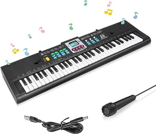 Achort Teclado de Piano Para Niños, 61 Teclas Teclado Electrónico Piano Multifunción con Micrófono, Portátil Electrónico Músical Piano de Karaoke, ...
