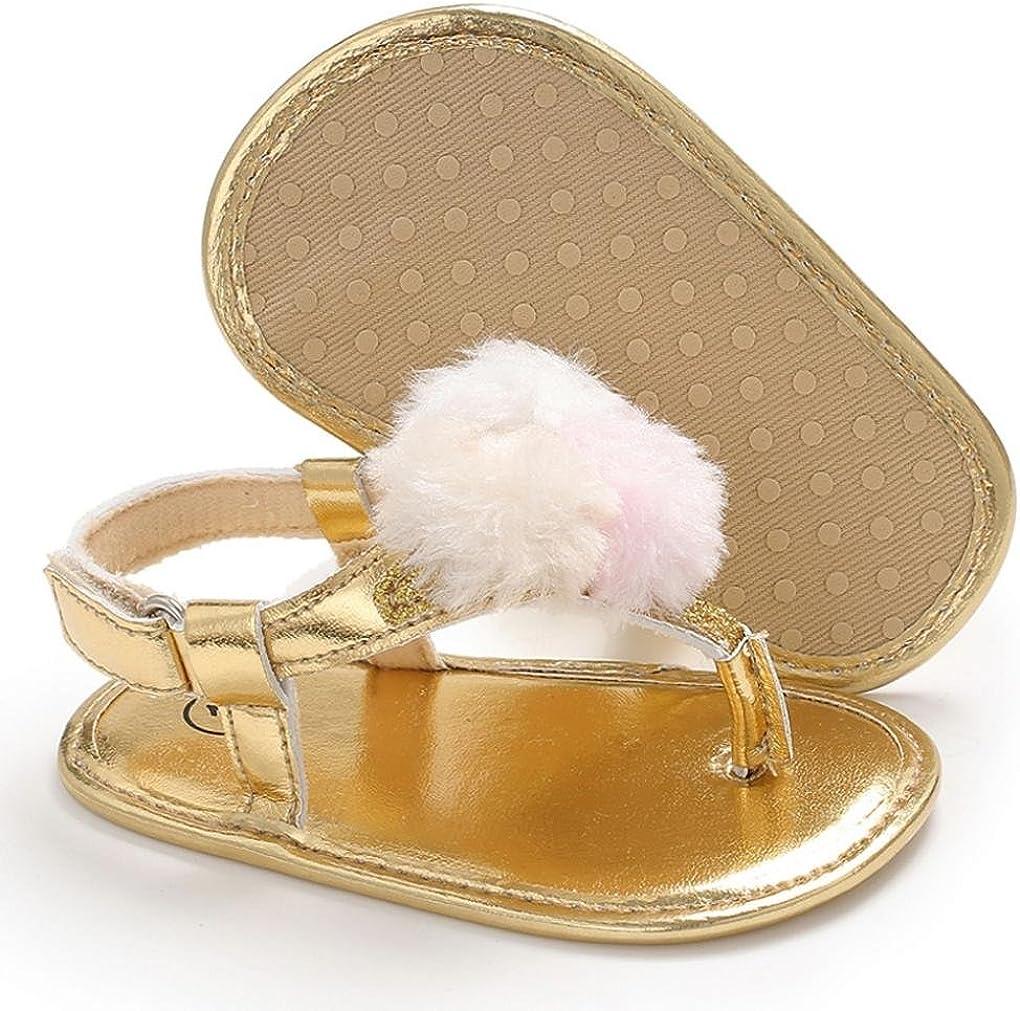 Moonker Newborn Infant Girl Summer Pompon Soft Sole Anti-Slip Flat Thong Sandals Toddler Footwear Shoes 0-18Months