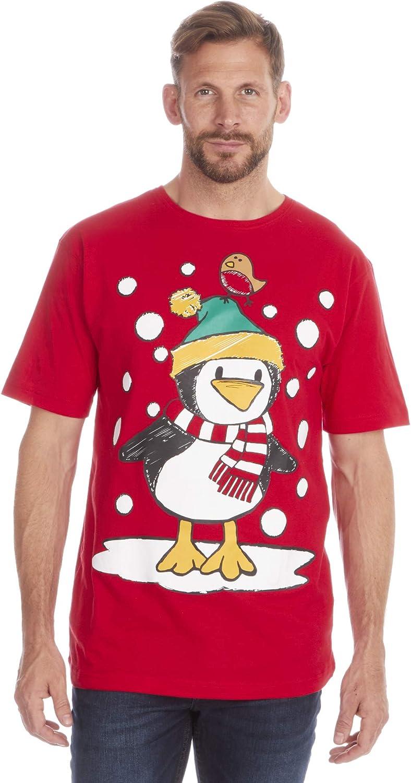 Fruit of the Loom Camiseta de algodón con estampado navideño para hombre