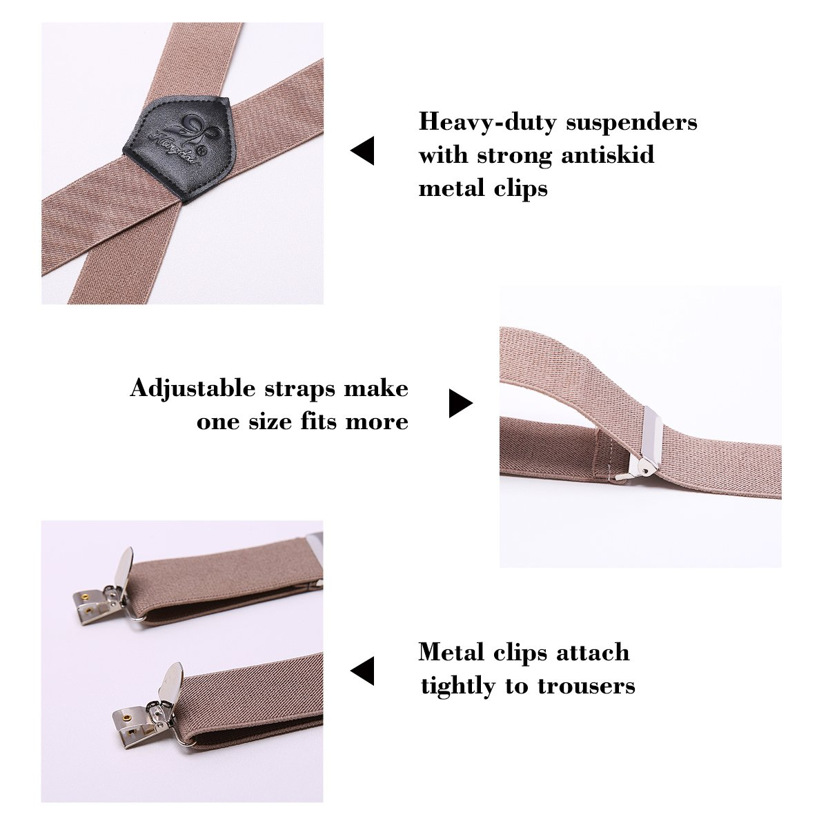 Men Suspenders 4 Clips KANGDAI Genuine Leather Braces X Back Durable Wide Elastic Straps Braces for Trousers