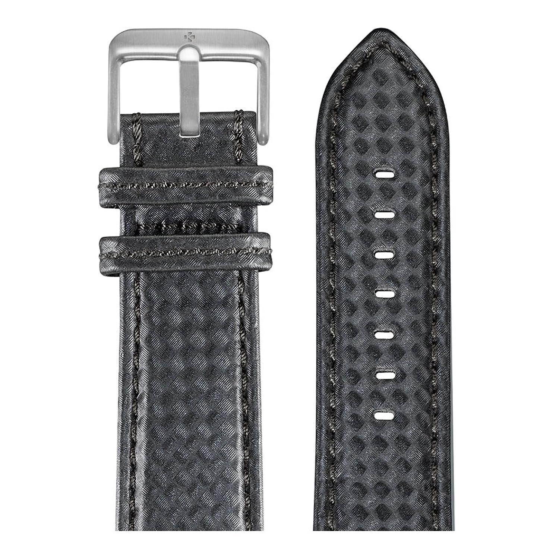 MyKronoz 22 mmプレミアムウォッチバンドカーボン Carbon Black Red Stitching/Brushed Silver Clasp red B07FDLW9F3