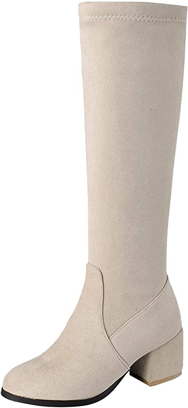 Chunky Stacked Heels Knee-High Shoes for Women Casual Zipper Ruched Round Toe Boots Winter High Boots