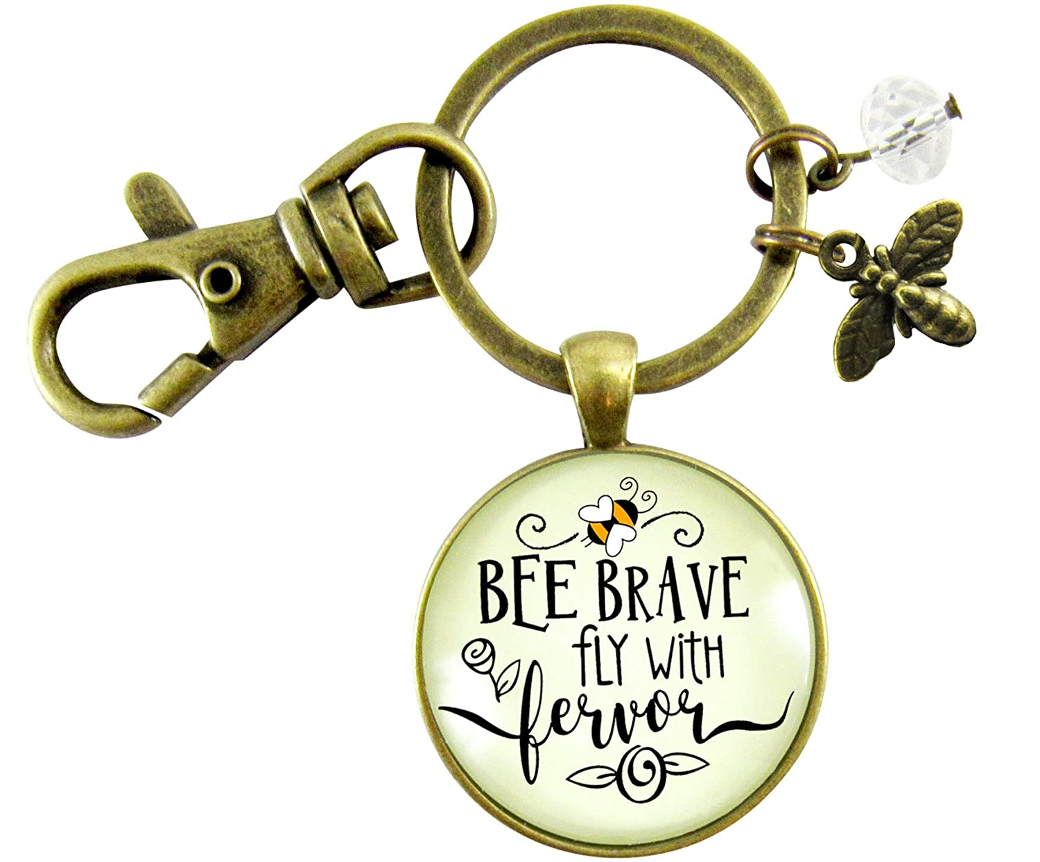 Bee Brave Keychain Fly With Fervor Fun Novelty Jewelry For Women Dainty Bumble Bee Charm Quote Pendant
