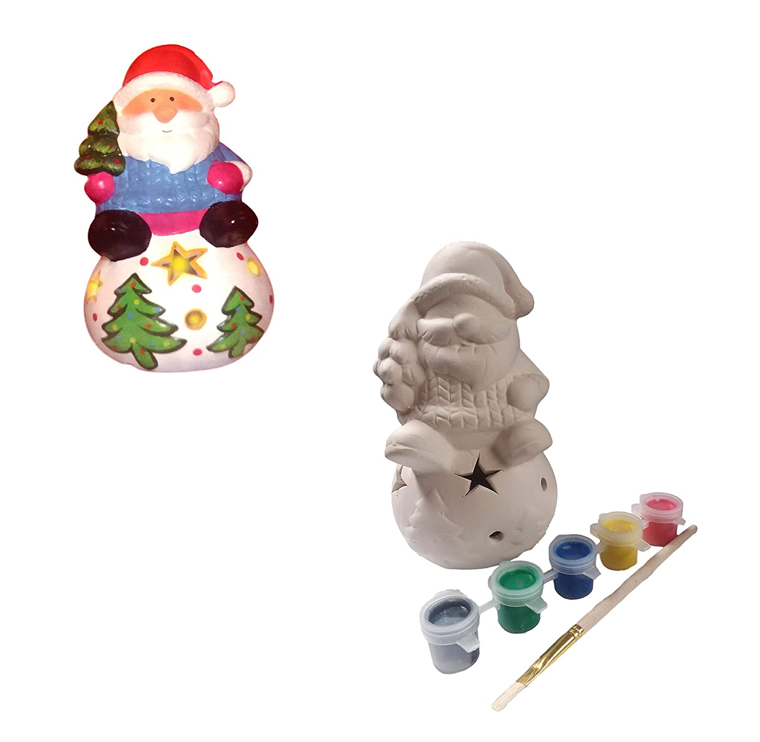 Complete Kit Great Gift Color Changing Light up Santa Design Your Own Ceramic Christmas Characters Paint Your Own Ceramic Christmas Holiday Set DIY Crafts for Kids