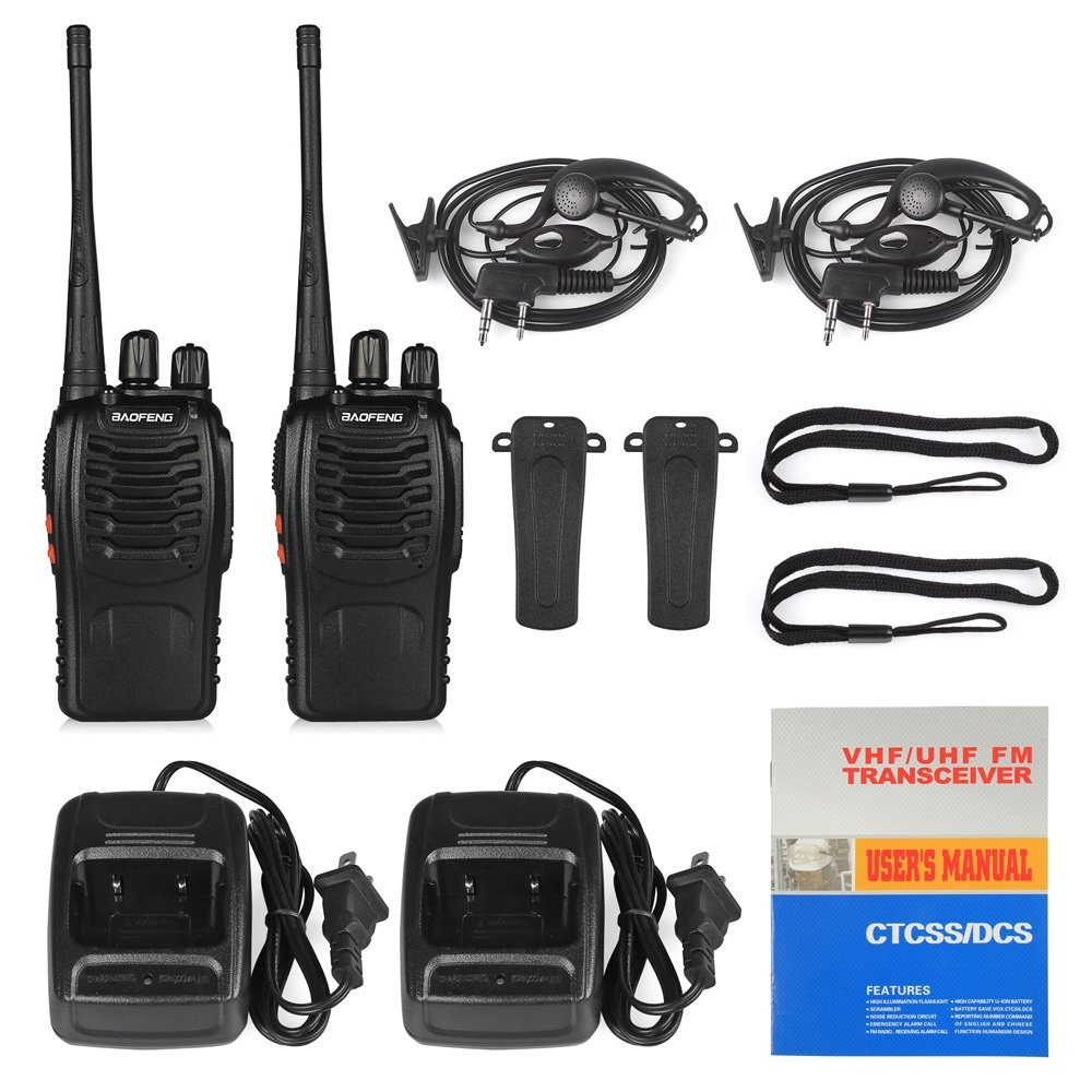 Handheld 5W Two Way Ham Radio Walkie Talkie with Earpiece Built in LED Torch Pack of 4 BaoFeng BF-888S
