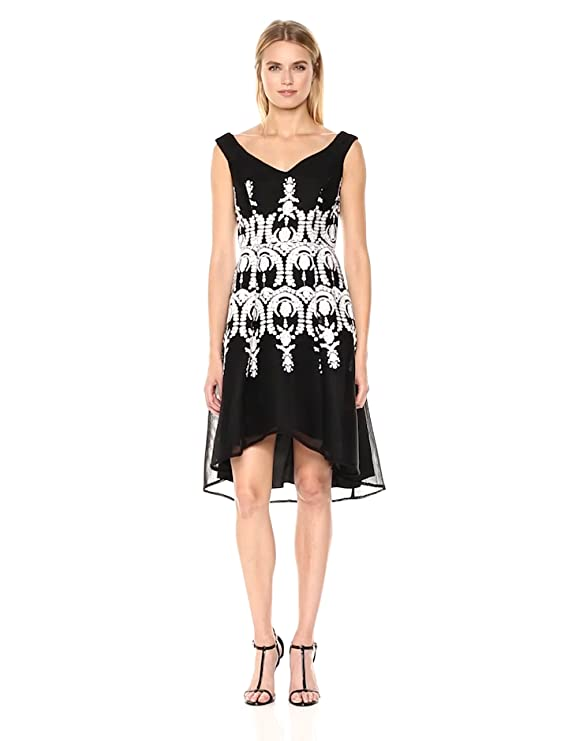 6aeb6eb59e Adrianna Papell Women's Neoprene Fit and Flare Dress with Mesh and  Embroidery at Amazon Women's Clothing store: