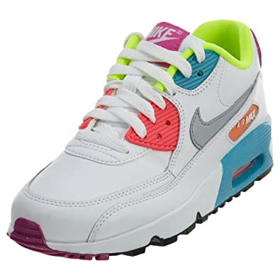 Kid's Nike Air Max 90 (GS) White Truquoise Pink Sneakers : G75x5336