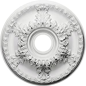 """Ekena Millwork CM18GA Granada Ceiling Medallion, 18""""OD x 3 1/2""""ID x 2 1/2""""P (Fits Canopies up to 6 5/8""""), Factory Primed"""