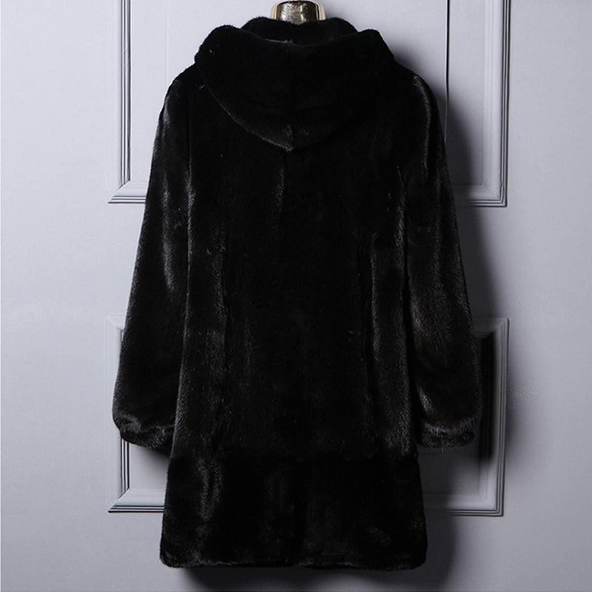 Womens Winter Luxurious Faux Fur Black Hooded Coat Fake Mink Outerwear Jacket