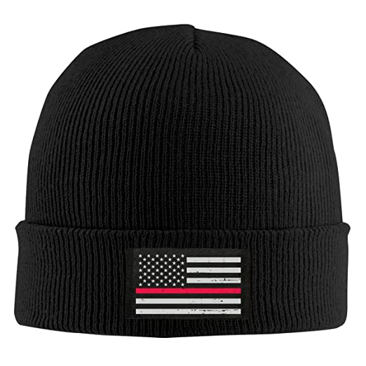 Thin Red Line Flag Wool Hat Women Men Soft Stretch Knit Beanie Hat Winter  Warm Skull Cap at Amazon Men s Clothing store  a45fe7979d8