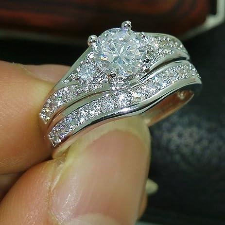 lovely ring size8 valueable 10kt gold filled white topaz diamonique wedding ring set gift - Diamonique Wedding Rings