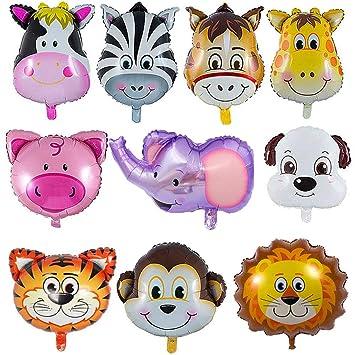YIKEF Globo de Aluminio Animal, 10 Piezas Globos Animales Cumpleaños, Globos Animales Helio - Helio está Permitido, Decoración de la Fiesta de ...
