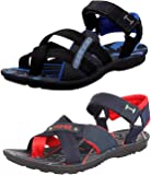 Maddy Men's Perfect Stylish 2 Black & Navy Red Casual Sports Sandals