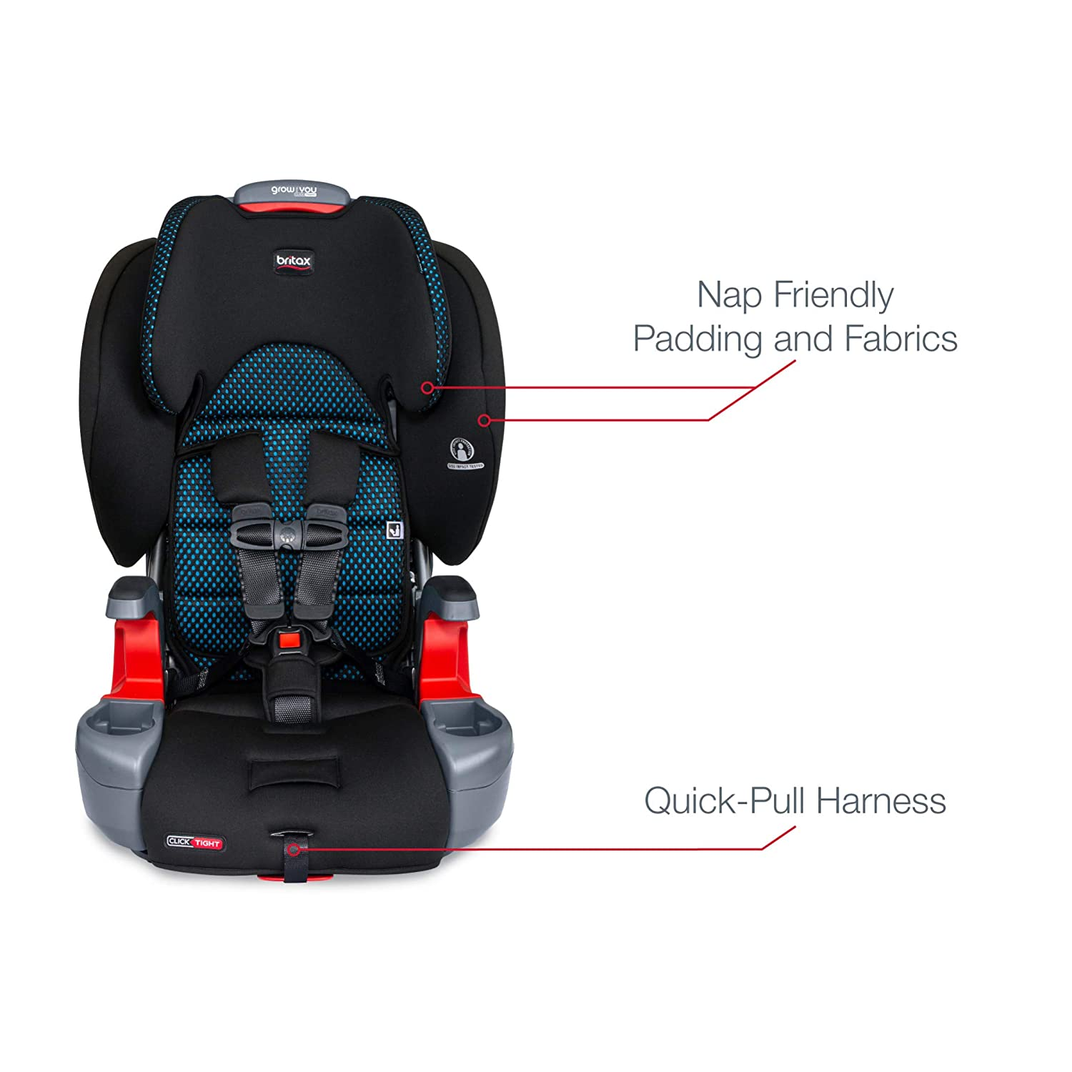 Newer Version of Frontier Cool Flow Teal Britax Grow with You ClickTight Harness-2-Booster Car Seat 25 to 120 Pounds 2 Layer Impact Protection