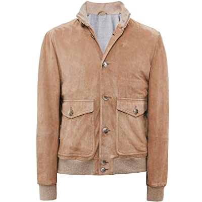 Hackett Men's Suede Bomber Jacket Tan