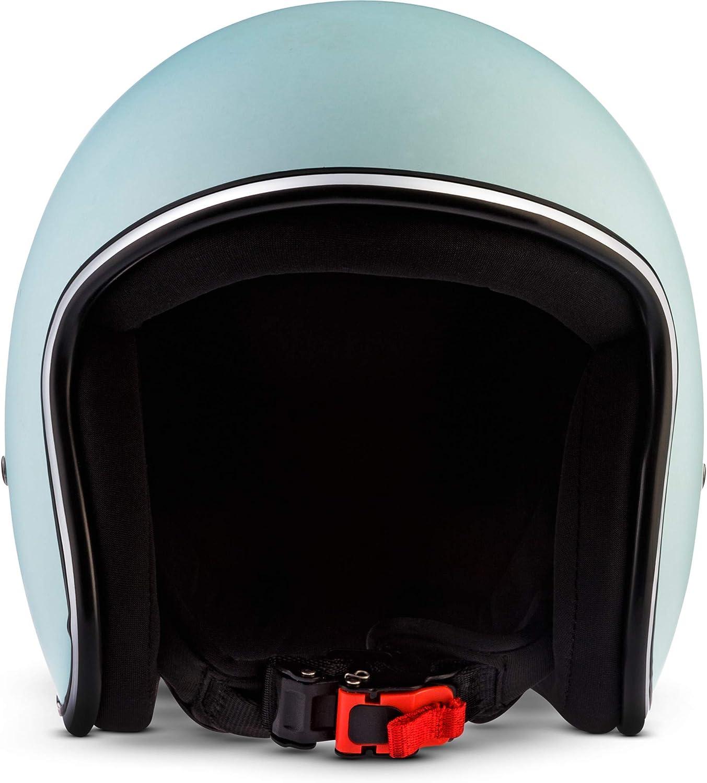 Rebel R2 Motorrad Jet-Helm XL 61-62cm Flakes Gr/ün Fiberglas Schnellverschluss SlimShell Tasche