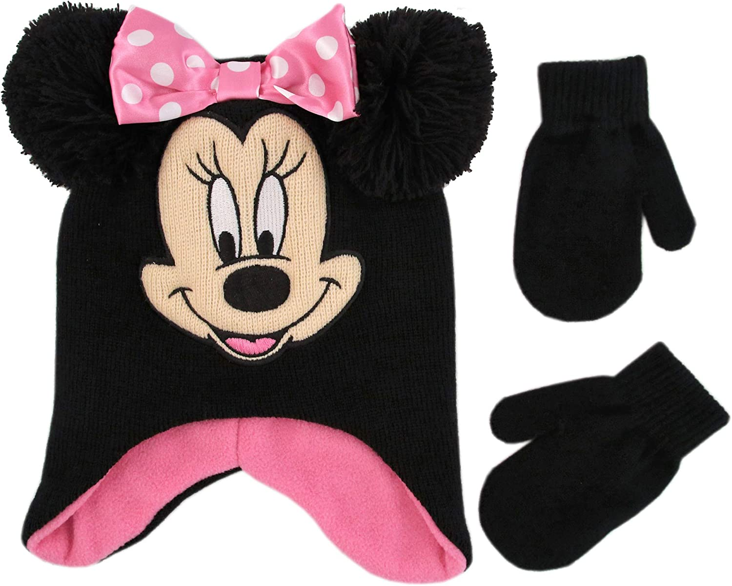 Disney Girl Winter Hat Set, Minnie Mouse Kids Beanie and Gloves Or Mittens for Age 4-7