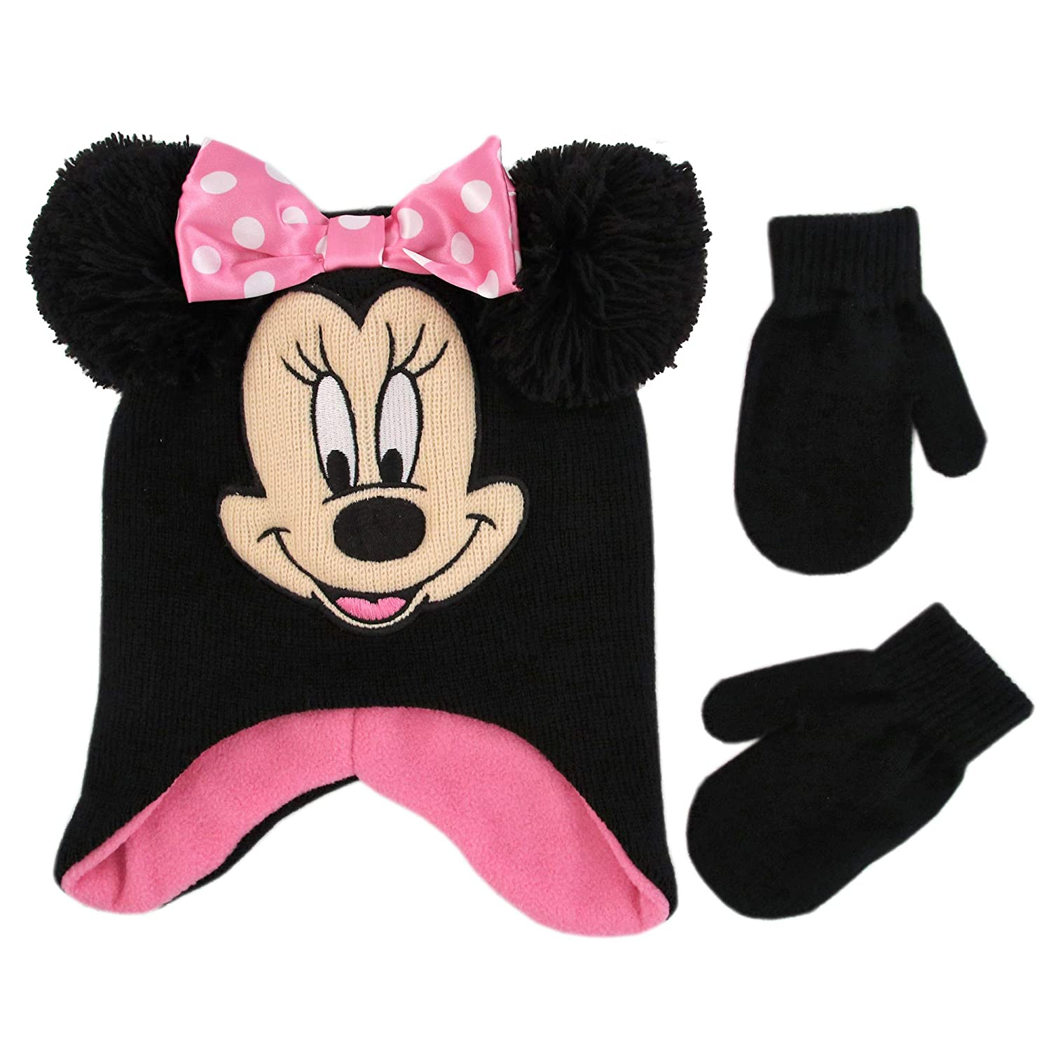 Disney Girls' Toddler Minnie Mouse Character Hat and Mittens Cold Weather Set, Black/Pink, Age 2-4 MNF83374AZ