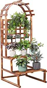 unho Dome Plants Stand 3 Tier Wood Rustic Ladder Display Shelf Rack with Trellis for Garden Yard Corner Patio Balcony Indoor Outdoor