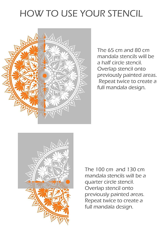 VARANASI Mandala Meubles Mur Sol Pochoir Pour Peinture 50 cm