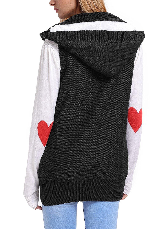 Annflat Women's Hooded Button Up Sleeveless Fleece Sweater Coat ...