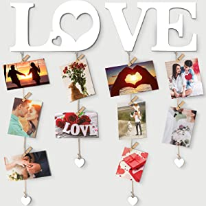 Chuangdi Hanging Photo Display Picture Frames Collage Love Wall Decor with Clips String Picture Hanger Heart Design Decorative Organizer Display for Home Bedroom Living Room Gallery Decoration