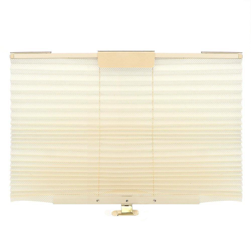 MAZIMARK--1x Beige For Side Window Car Curtains Interior Accessories Folding Car Sun Shade