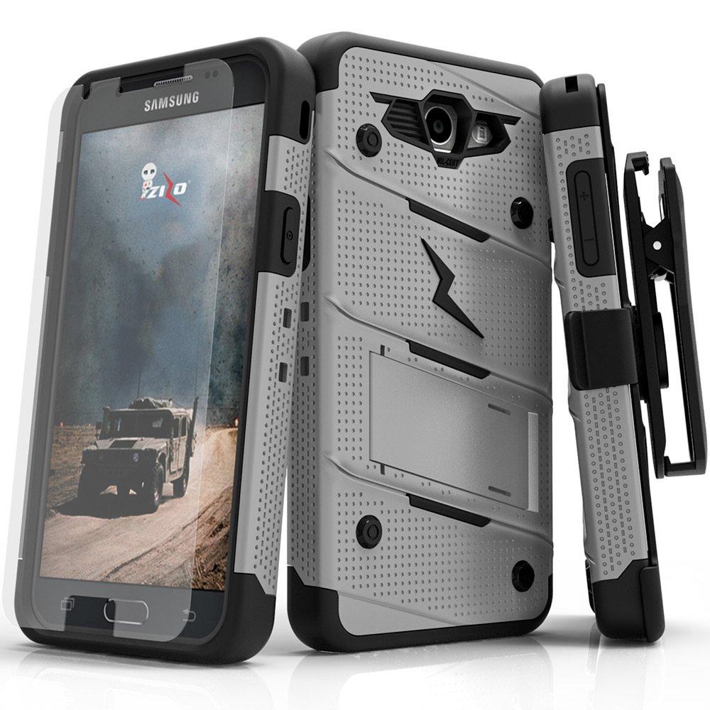 Samsung Galaxy J3 Emerge Case, Zizo [Bolt Series] w/ [Galaxy J3 Emerge Screen Protector] Kickstand [12 ft. Drop Tested] Galaxy J3 Prime / Amp Prime 2