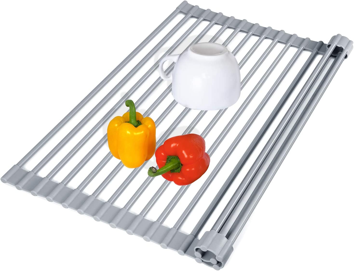 TBMax Roll Up Dish Drying Rack, Food-Grade Silicone-Coated Stainless Steel Over The Sink Rack, Heavy Duty Roll Up Sink Drying Rack