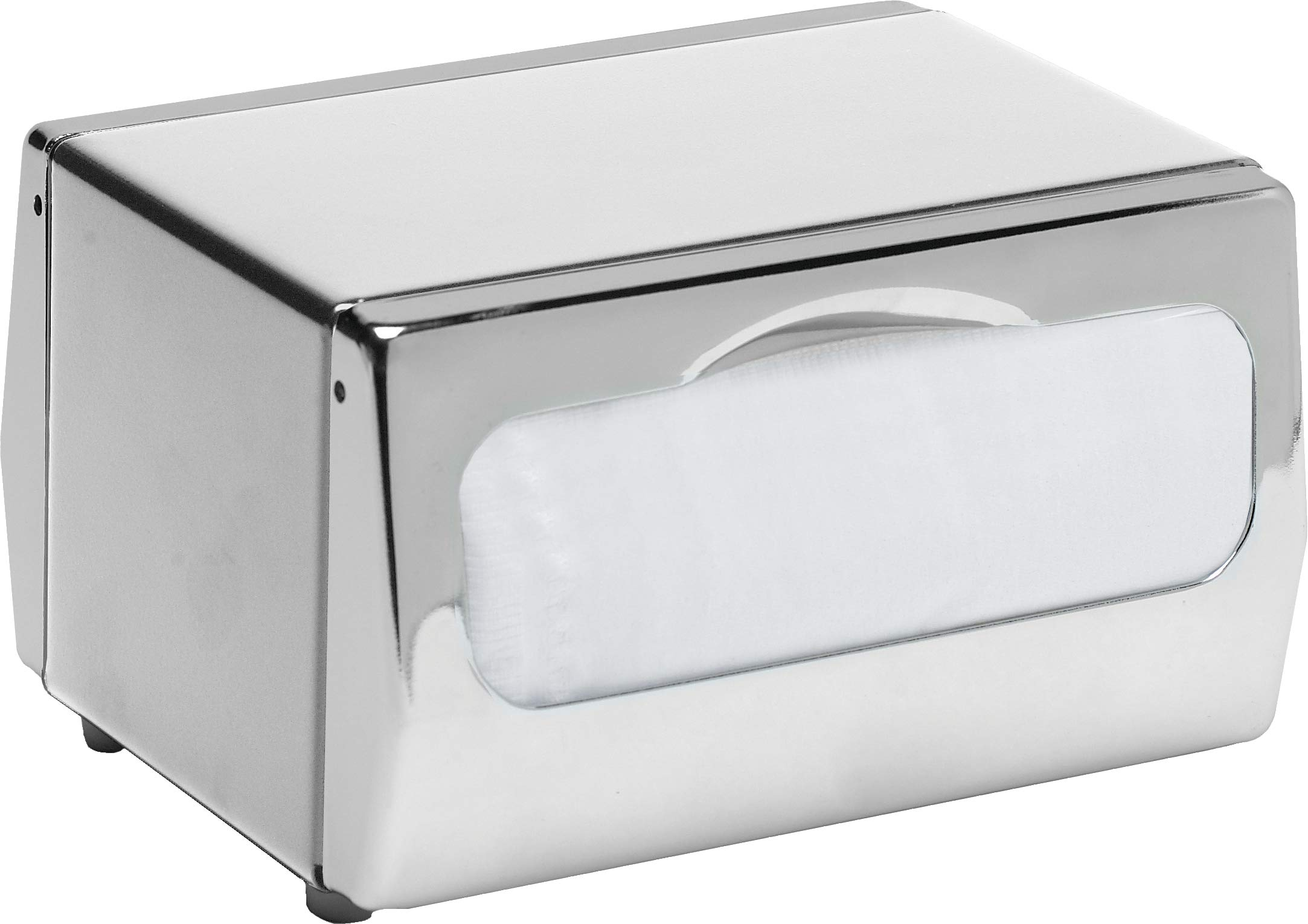 San Jamar H4000 Steel Tabletop Minifold Napkin Dispenser, 170 Capacity, 7-3/4'' Width x 4-1/2'' Height x 6'' Depth, Chrome