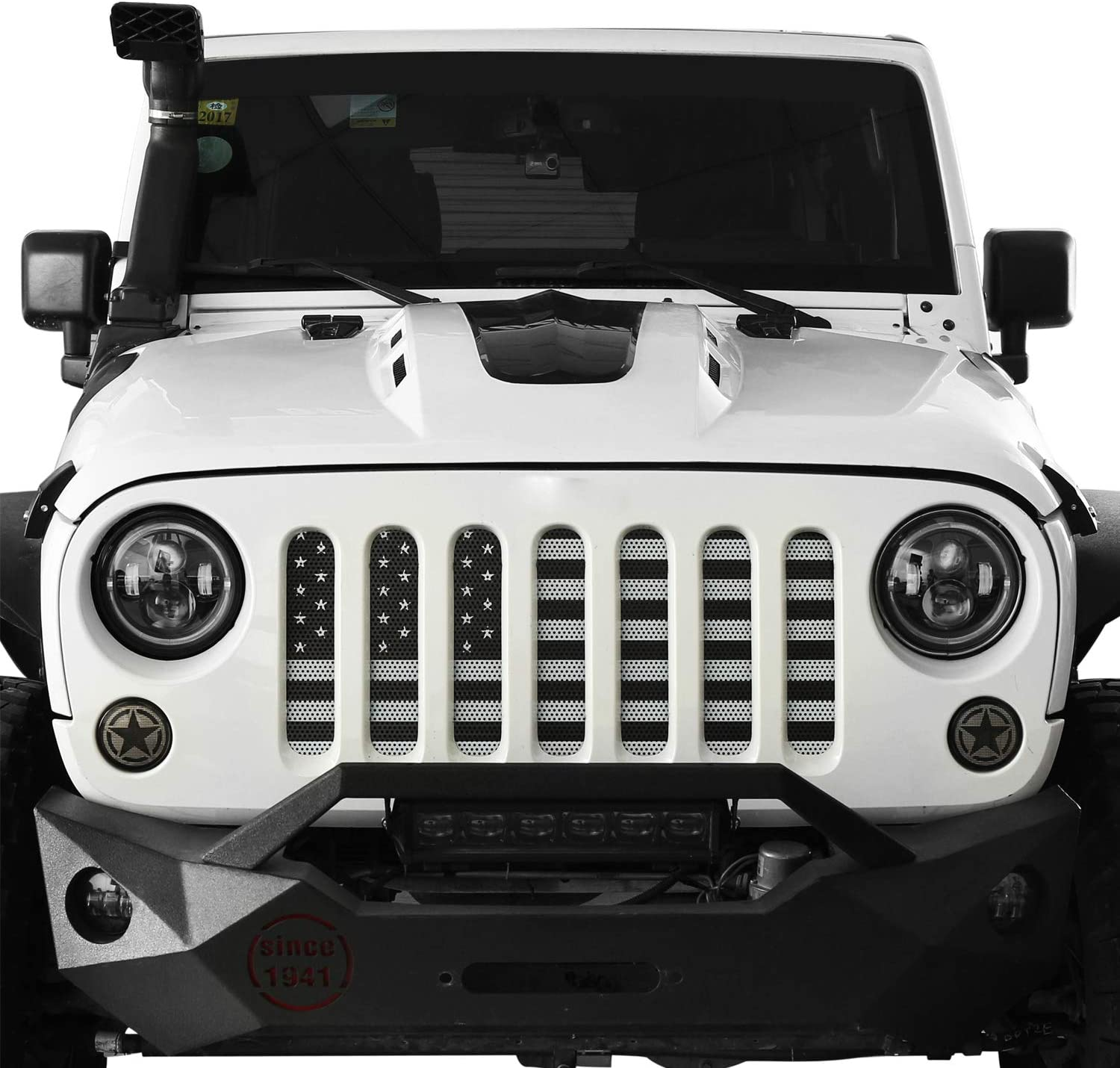 Classic Black /& White Kutang Modified Jeep American Flag Grille Screen Steel Front Grille Grid Grill Mesh Screen Insert Suitable for 2007-2018 Jeep Wrangler JK /& JK Unlimited
