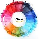 100 Pezzi Multicolore Organza Sacchetti Regalo Buste di Nozze Favore Absofine per Gioielli 7*9cm