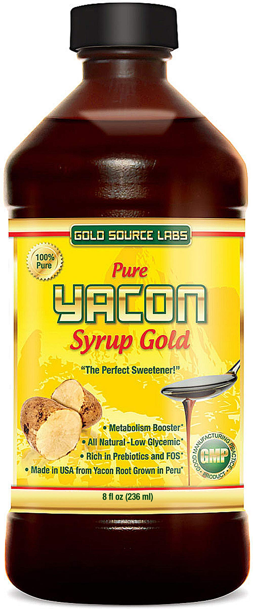 Pure Yacon Syrup Gold - All Natural Sweetener and Sugar Substitute, Highest FOS Prebiotics, 8 oz - Raw Root Extract Controls Appetite, Boosts Metabolism, Lowers Blood Sugar, Keto Weight Loss Diet by Gold Source Labs