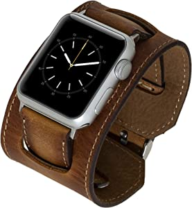 Venito Ancona Cuff Handmade Premium Leather Watch Band Compatible with the Newest Apple Watch iwatch Series 6 as well as Series 1,2,3,4,5 (Antique Brown w/ Silver Stainless Steel Hardware, 42mm-44mm)