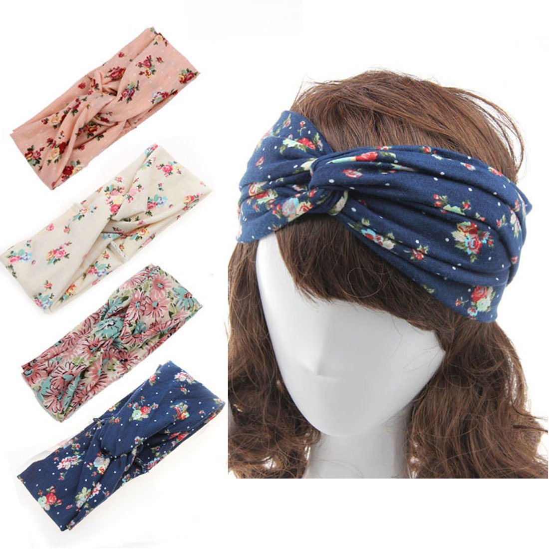 King Star Women 4 Pack Headbands Turban Head Wrap Twisted Knotted Hair Band H17063002-2