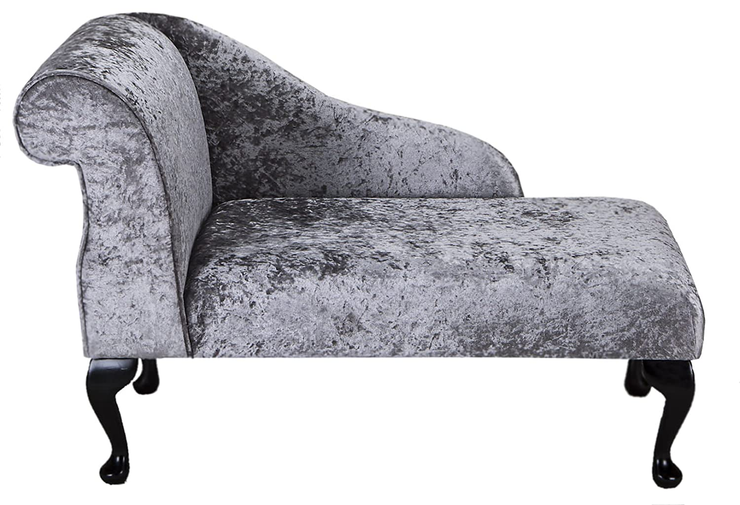 "41"" Small Classic Chaise Longue - Chair Seat - Bling Pewter Fabric - Left Facing With Queen Anne Legs Beaumont"