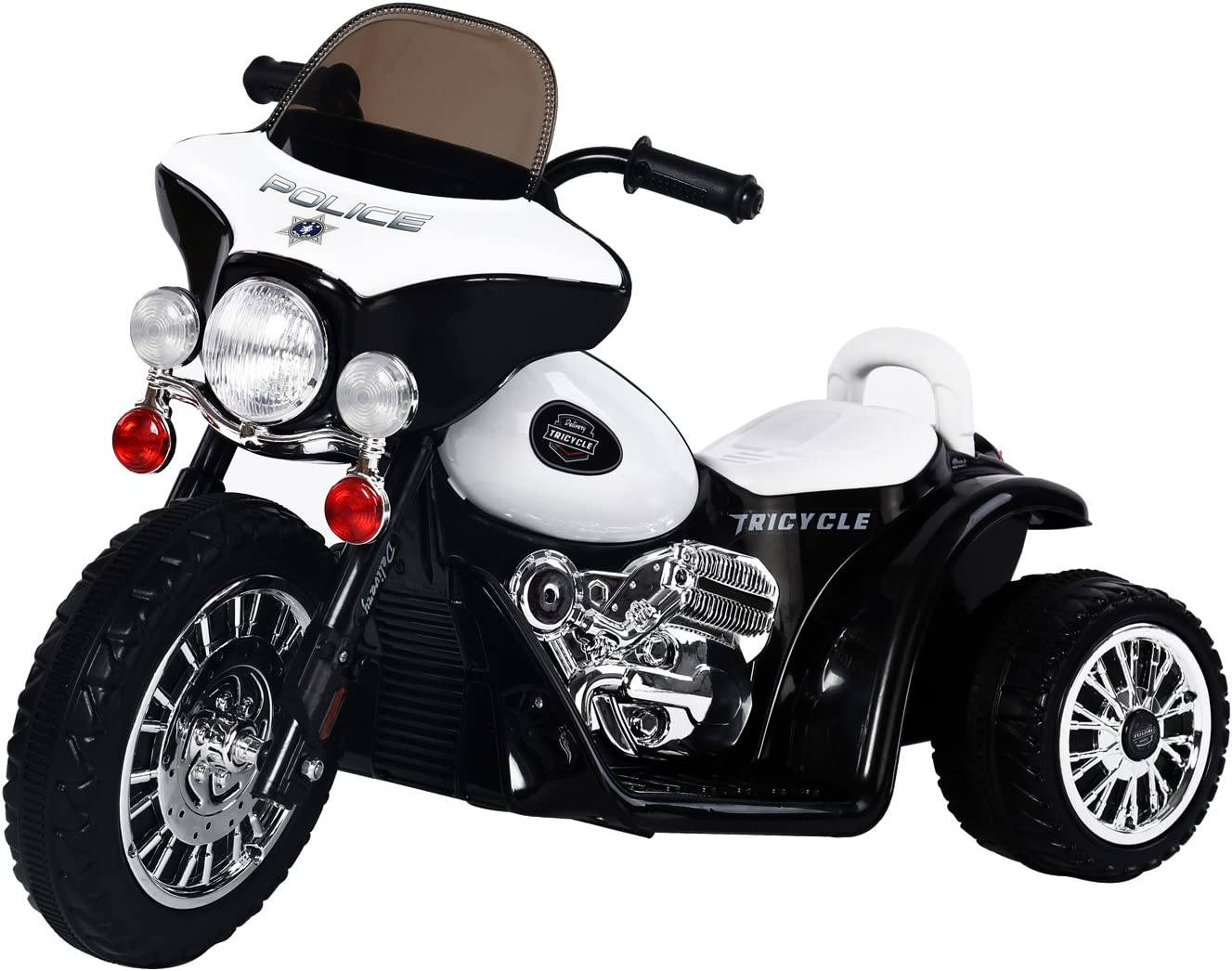 HOMCOM Moto Eléctrica Infantil Coche Triciclo Correpasillos a Batería Niños 18-36 Meses 6V Metal + PP 80x43x54.5cm Blanco