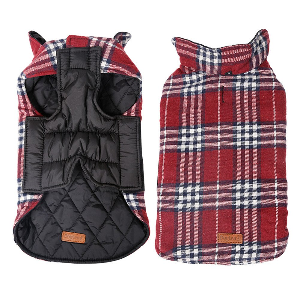 Kimfoxes Pet Dog Jacket Vest Windproof Garment Waterproof Snowproof Clothing Waistcoat Winter Warm Clothes Reversible British Style Grid Plaid Dog Coat for Medium Large Dogs(Red M)
