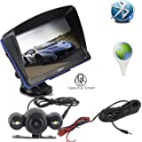 Xgody 886 with 6 Meters Rear View Camera 7 Inch RAM 256MB/ROM 8GB Capacitive Touchscreen SAT NAV Car GPS Navigation Lifetime Map Updates Speed Limit Displays with Sun Shade Bluetooth (886BT+ YM)